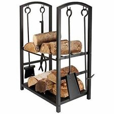 Large Black Indoor/Outdoor Firewood Log Storage Rack Stand & Tools Holder Store