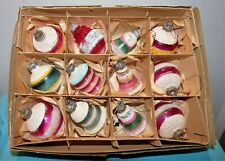 Vtg~BOX 12~ALL MICA FROSTED~UNSILVERED Xmas Ornaments~WW2 BELLS~TORPEDO~LANTERNS