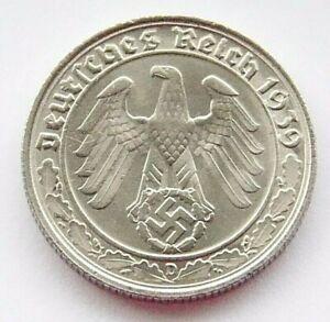 GERMAN 50 REICHSPFENNIG 1939 D SWASTIKA Nickel 3rd REICH WW2 +RARE+ Coin Pfennig