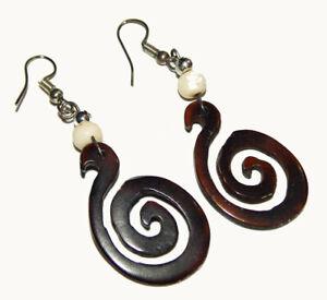 925 Silver Plated Horn/Wood Carving Handmade Tibetan Jewelery Earrings QSJ02