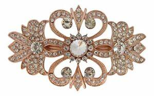 Art Deco Gatsby Style Rose Gold Crystal Diamante Hair Barrette Wedding Hair Clip