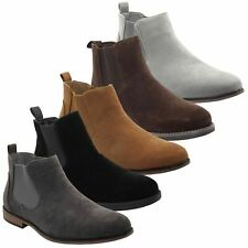 Mens Ankle Boots Faux Suede Chelsea Work Jeans Casual Block Heel High Top Shoes