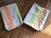 Vintage Sears Roebuck Percale Yellow Green Striped Pillowcase Set Permaprest