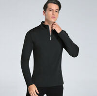 Men's 1/4 Reflective Zip Athletic Pullover Long Sleeve   Slim Fit Running Tops