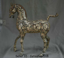 "21.2"" Antique Old Chinese Bronze Silver Ware Dynasty War Zodiac Horse Statue"