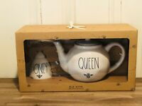 Rae Dunn By Magenta Ceramic QUEEN BEE Teapot, HONEY With Wooden Stick, Set of 2