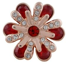 Rose Gold Red Rhinestone Flower 20mm Snap Charm For Ginger Snaps Jewelry