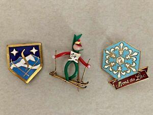 Vintage Lot of 3 Ski Pins