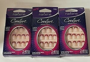 (3) NAILENE COUTURE SILVER & RED FRENCH DESIGN GLUE ON NAIL KIT - 71871