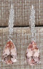 Fashion 925 Silver Morganite Dangle Drop Hoop Earrings Engagement Bridal Jewelry