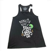 NWT Jane Marie Black Tank Top Mamacita Needs a Margarita Small