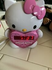 Hello Kitty Time On Wall Projection Projector Am/Fm Alarm Clock Radio. Tested!