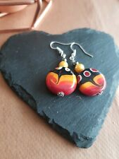 Lampwork drop dangle, silver plated earrings, red 20mm assorted beads (443)