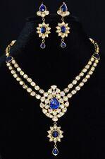 ESTATE SAPPHIRE DIAMOND ENAMEL 22K 22C 18K GOLD NECKLACE CHANDELIER EARRINGS SET