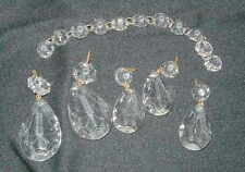 LOT OF VINTAGE CRYSTAL PRISMS, LAMP DANGLES, DROPS