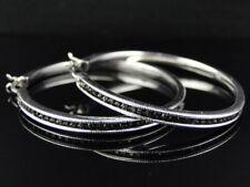 Ladies White Gold Finish Genuine Black Diamond Hoop Earrings 2 Inch .75 Ct