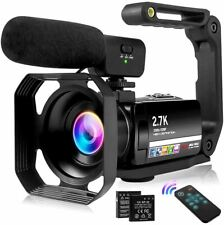 Video Camera 2.7K Vlogging Camera for YouTube 30MP Camcorder with Foldable Handh