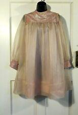 Joyce Ann 1960's Dress Cottage Core Long Sleeve Dusty Rose Chiffon S/M?