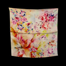 "Women's 100% Satin Silk Scarf / Off-white  / Floral / 21"" X 21"""