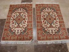 Gorgeous Ivory Flower Medallion Wool Silk Rug Hand Knotted Carpet Pair (3 x 2)'