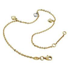 Cavigliera Con 3 Cuori, 375 Vero Oro 25cm, Accessorio per Piedi, Donna