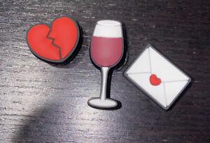 New Crocs Jibbitz -Wine Glass, Love Letter, Broken Heart 3 Piece