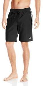 Adidas Boy's Iconic 3 Stripe Mesh Lined 2 Pocket Swim Trunk Large 14/16 Black