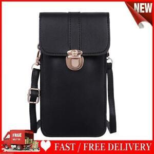 Women Touch Screen Mobile Phone Pouch PU Splicing PVC Crossbody Bag (Black)