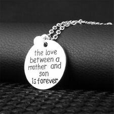 Mother and Son Forever Love Round&Heart Pendant Necklace Mom Christmas Gift