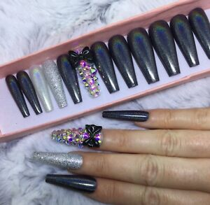 Black Holographic Diamante Bow False Press On XL Ballerina Nails Set