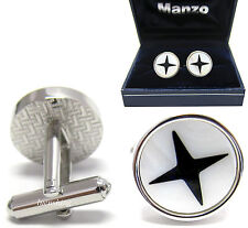 New Men's Cufflinks Cuff Link Round Mother of Pearl Wedding Formal Prom #17