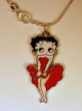 """BETTY BOOP PENDANT,18"""" SILVER PLATED NECKLACE"""