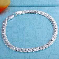 Wholesale 925Sterling Silver Full Side Snake Chain Woman Men Bracelet 5MM HB199