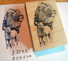 "P3 Lion and lamb rubber stamp 3.5x2"" WM"
