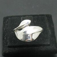 STYLISH PLAIN STERLING SILVER RING LEAF SOLID 925 NEW SIZE H - Z R000960