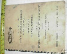 """Norton Manual #C 14""""-16""""-18"""" ; Cylindrical/Roll Grinder"""