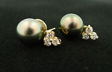 CLASSIC! 14K Yellow Gold Tahitian Black Pearl and Diamond Accent Earrings - NEW!