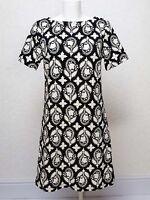 PAPAYA textured Black White Print Short sleeve mini A line Shift dress size 10