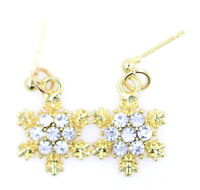 Festive small, gold tone, snowflake stud earrings with sparkly crystals. Xmas