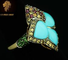 NEW / Levian / 6 CT Turquoise & multi-gemstones Ring  / 14K Gold