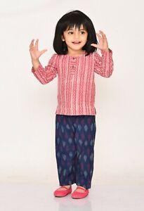 Baby Girl Clothes Pink Printed Full Sleeves Pure Cotton Kurta & Pyjama Set