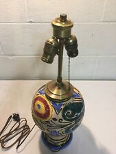 ANTIQUE MAJOLICA FAIENCE POTTERY LAMP