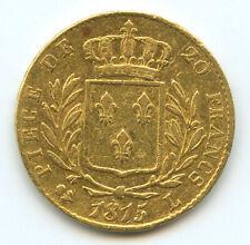 Louis XVIII (1814-1824) 20 Francs or 1815 L Bayonne