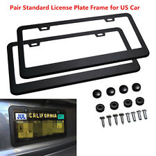 2pcs Car License Plate Frame 304 Stainless Steel Black Tag Cover with Screw Caps