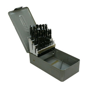 """29 PC Jobber Drill Set 1/16"""" - 1/2"""" By 64th With Metal Index Box"""