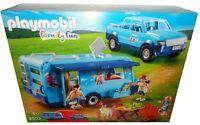 PLAYMOBIL FAMILY FUN 9502 PARK PICKUP WITH CAMPER *BNIB* CARAVAN + TRUCK