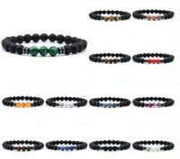 Men's Black Tourmaline Matte Agate Stone Protection Stretch Beaded Yoga Bracelet