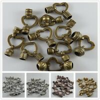 12pcs Multi-Colors Heart Clasp End Caps Alloy Connector Jewelry Making Findings