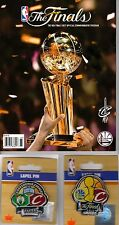 2017 NBA FINALS PROGRAM + CLEVELAND CAVALIERS TWO (2) PIN SET WARRIORS CELTICS