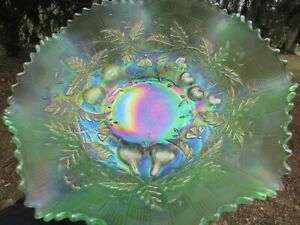 Northwood FRUITS & FLOWERS ANTIQUE CARNIVAL GLASS LARGE MASTER BOWL~ICE GREEN!